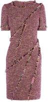 Karen Millen Fringed Tweed Dress - Pink/multi