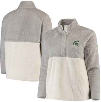 Women's Gray/Cream Michigan State Spartans Plus Size Fuzzy Fleece Colorblocked Four-Snap Pullover Jacket