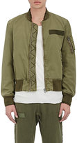 R 13 Men's Destroyed Flight Jacket-GREEN, DARK GREEN