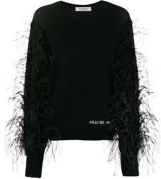 "Valentino ""Wrap Me. Free Me. See Me"" feathered jumper"