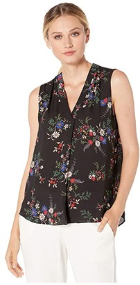 Vince Camuto Sleeveless V-Neck Country Bouquet Blouse (Rich Black) Women's Clothing