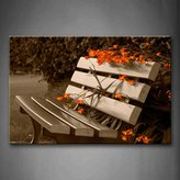 First Wall Art - Bench With Some Orang Flowers Wall Art Painting The Picture Print On Canvas City Pictures For Home Decor Decoration Gift
