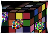 Pillowcase 2421 Rubik's cube Background Comfortable Cotton&Polyester Pillowcase/Pillow slip/Cushion case/pillow cover(Two Side Printing,30inch*20inch)