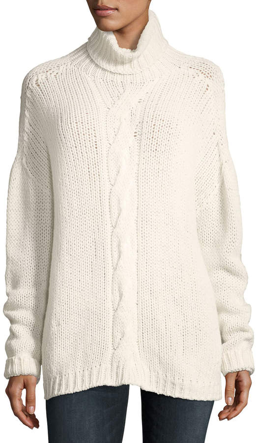 Majestic Cable-Knit Turtleneck Sweater