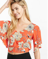 Express floral tie back cropped top