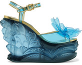 Miu Miu Leather-trimmed Appliquéd Pvc And Plexiglas Wedge Sandals - Light blue