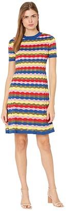 M Missoni Short Sleeve Crew Neck Wave Stitch Short Dress (Red Multi) Women's Clothing