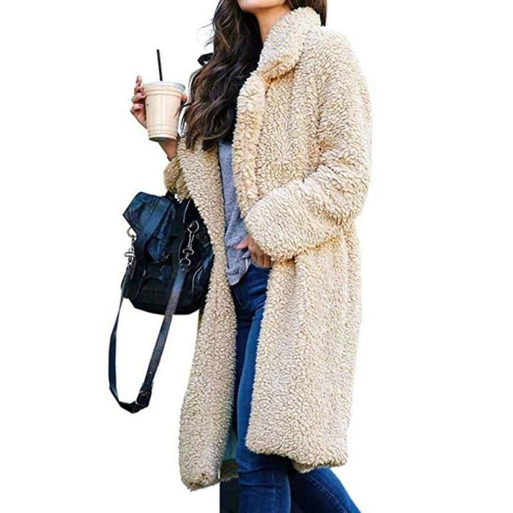 5dc1f8a52f04 OWMEOT Women Warm Long Sleeve Parka Faux Fur Coat Overcoat Fluffy Top  Jacket Leopard Clothing, ...