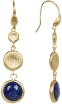Rivka Friedman Cascading Concave Satin Disc Cabochon Lapis Round Drop Hook Earrings