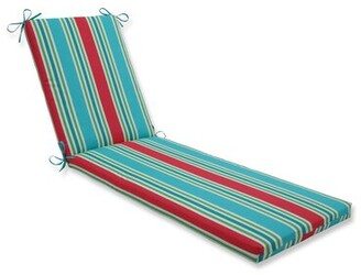 Bay Isle Home Stripe Indoor/Outdoor Chaise Lounge Cushion Fabric: Turquoise/Coral