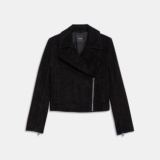 Theory Slim Moto Jacket in Suede