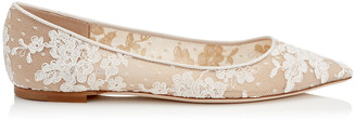 Jimmy Choo ROMY FLAT Ivory Floral Lace Pointy Toe Flats