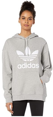 adidas Trefoil Hoodie (Medium Grey Heather/White) Women's Long Sleeve Pullover