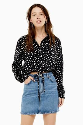 Topshop Blue Denim Mini Skirt