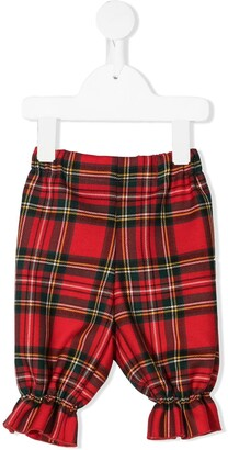 La Stupenderia Tartan Check Trousers With Ruffle Ankles