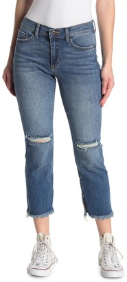 Sneak Peek Denim Mid Rise Distressed Straight Leg Jeans