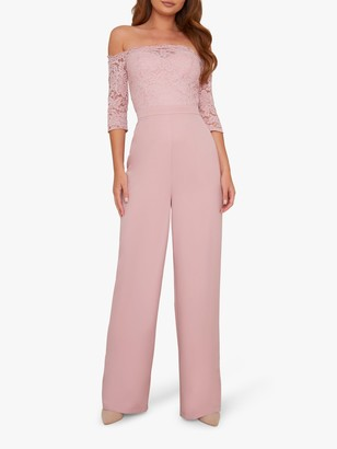 Chi Chi London Carmen Lace Bardot Jumpsuit, Mink