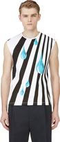 Raf Simons White Stripe & Tear Drop Tank Top
