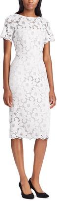Chaps Women's Silver Midi Lace Dress