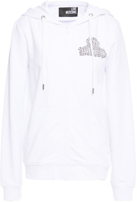 Love Moschino Crystal-embellished French Cotton-blend Terry Hoodie
