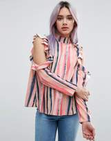 Asos Cold Shoulder Top With Ruffle In Blurred Pastel Stripe