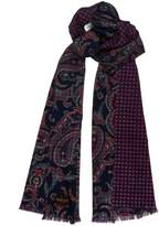Lucci Men's Super Soft 100% Merino Thread Wool Reversible Paisley Long Scarf