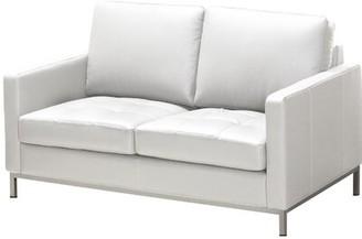 Orren Ellis Corniche Leather Loveseat Fabric: Genuine Leather Polar White
