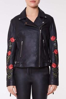 Linzi Gatsbylady London Elvira Genuine Handcrafted Leather Jacket Embroidered with Roses