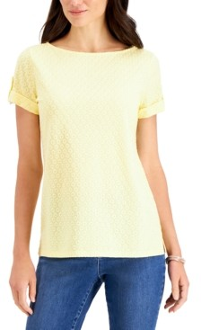 Charter Club Petite Eyelet Top, Created for Macy's