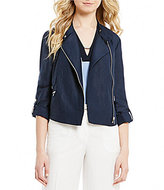 Jones New York Linen-Blend Roll-Sleeve Moto Jacket
