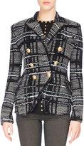 Balmain Tweed Tartan Jacket, Black/Gray