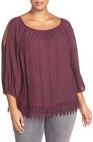 Bobeau Plus Size Women's Cold Shoulder Lace Trim Top