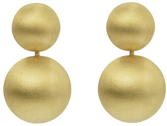 Eshvi Handcrafted Florentine Finish Yellow Gold Ball Drop Earrings