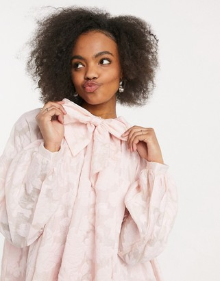 Sister Jane midi smock dress with pussybow in rose jacquard