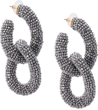 Oscar de la Renta Beaded Chain Link Earrings