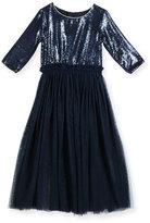 Billieblush 3/4-Sleeve Sequin & Tulle Combo Dress, Navy, Size 8-12