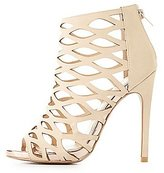 Charlotte Russe Metallic-Trim Laser Cut Dress Sandals