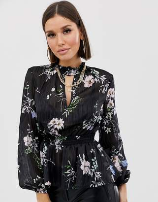 Lipsy floral choker neck blouse-Black