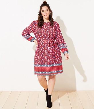 LOFT Plus Border Floral Tie Waist Dress