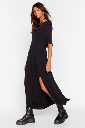 Nasty Gal Womens Slip of the Lip Slit Midi Dress - Black