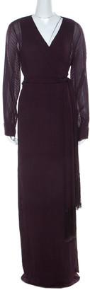Diane von Furstenberg Cherry Purple Plisse Chiffon Solenn Wrap Gown L