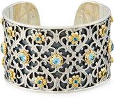 Konstantino Color Classics Floral Cuff Bracelet w. Blue Topaz