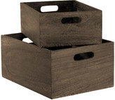 Container Store Feathergrain Wood Bins