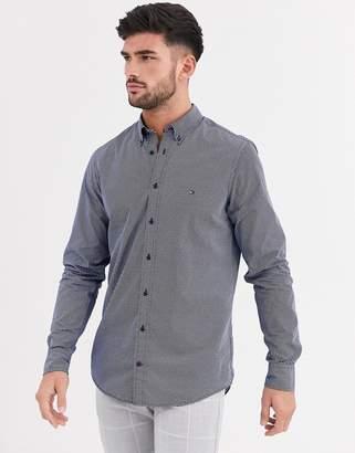 Tommy Hilfiger slim micro dot long sleeve shirt-Blue