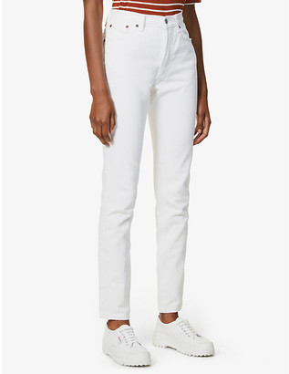 Levi's Pre-Loved Authorised Vintage 501 Ladies White Cotton Straight-Leg High-Rise Jeans, Size: 24