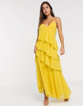 Forever U Collection ruffle maxi cami dress with thigh split in yellow