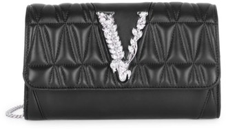Versace Virtus Quilted Leather Wallet-On-Chain
