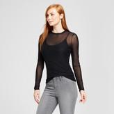 Mossimo Women's Mesh Knit Long Sleeve T-Shirt Black