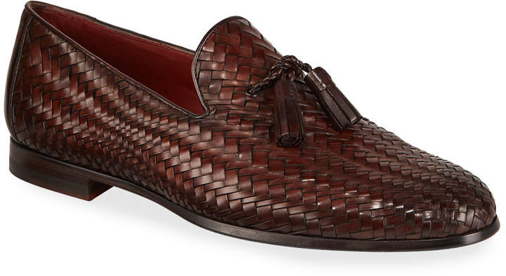 Magnanni Men's Arcade Caoba Woven Leather Loafers