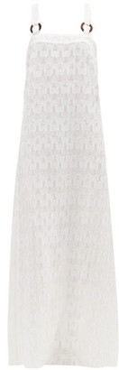Adriana Degreas Coquillage Checked Fil Coupe Silk-blend Dress - White